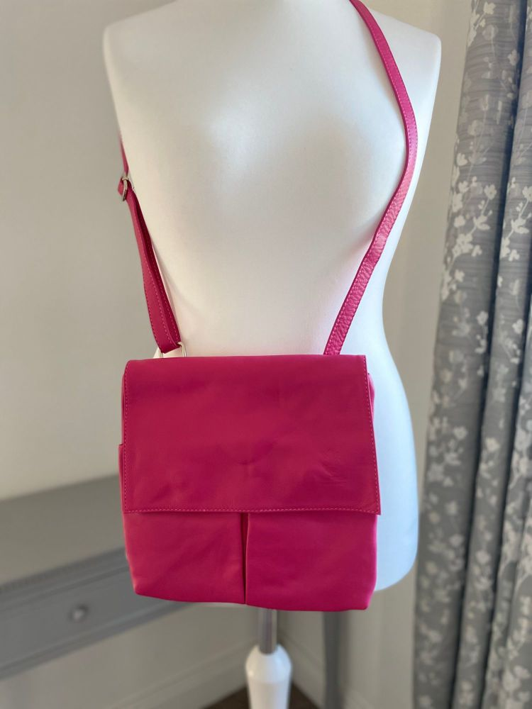 Genuine Italian Leather Multi-Pocket Crossbody Bag