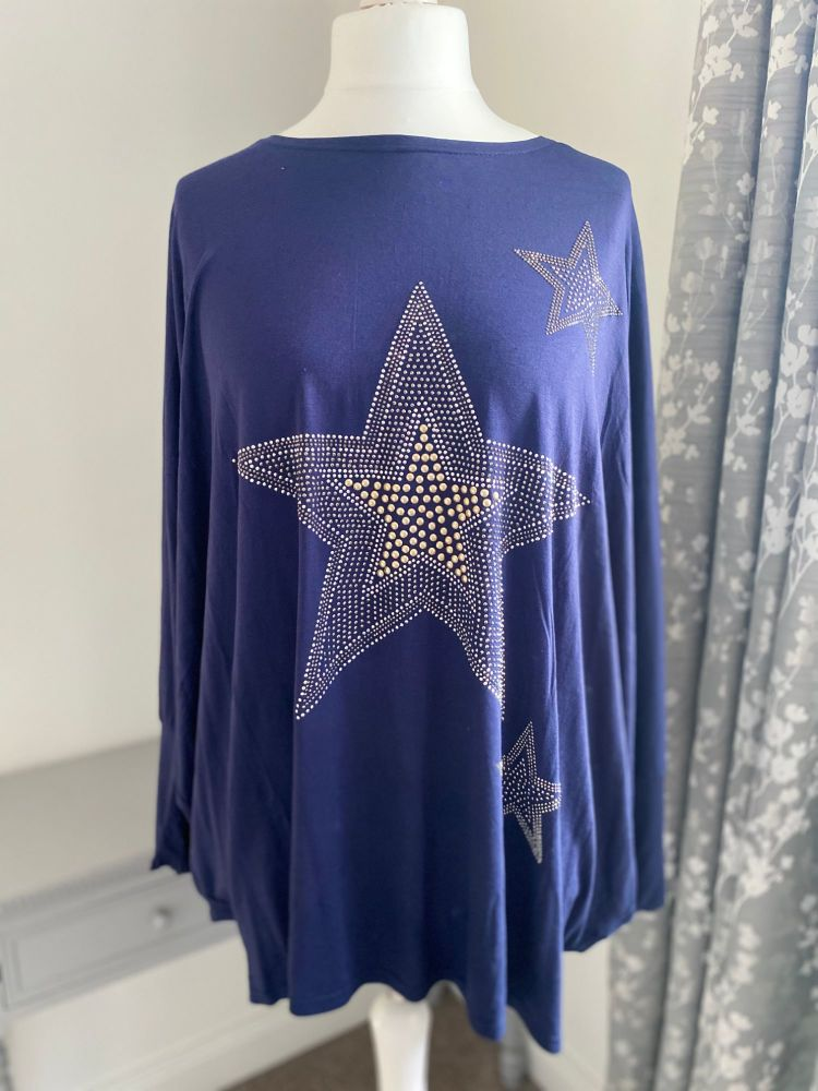 Super Soft Navy Star Top