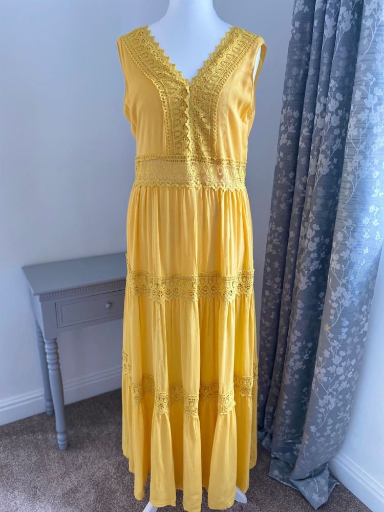 Sunflower Yellow Boho Style Maxi Dress