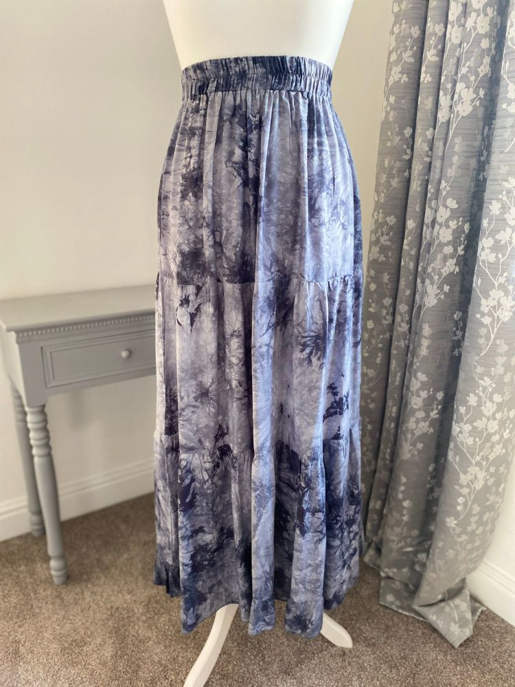 Grey Tie-Dye Effect Maxi Skirt
