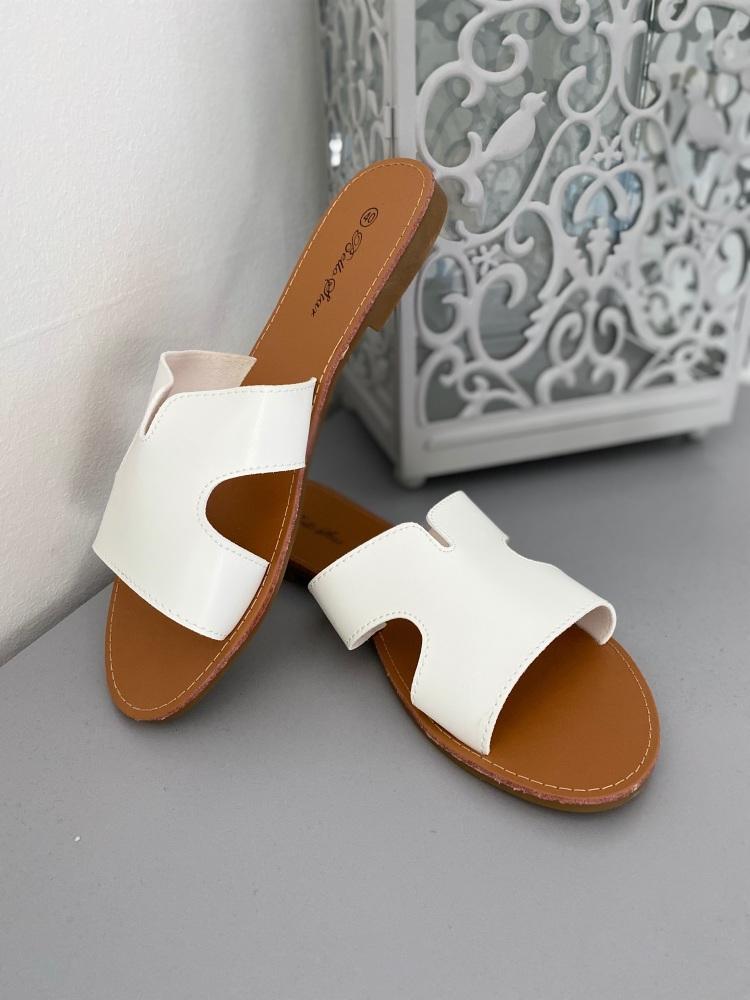 White Leather Slider Sandals
