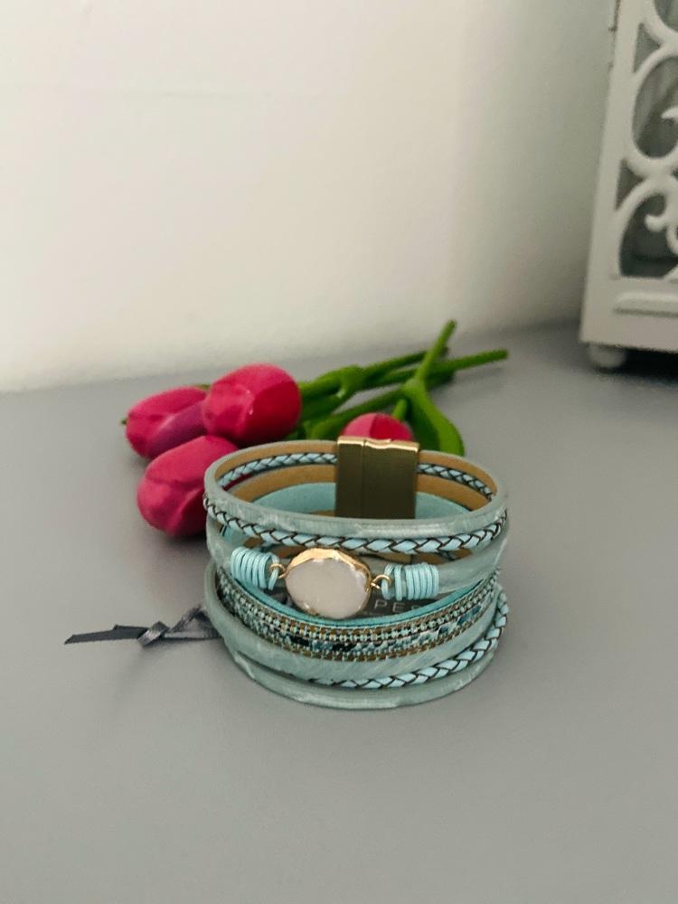 Turquoise & Freshwater Multi-Strand Bracelet