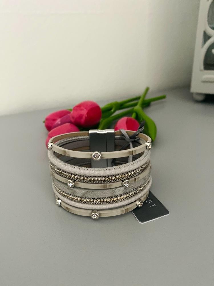 Multi-Strand Grey Cuff Bracelet
