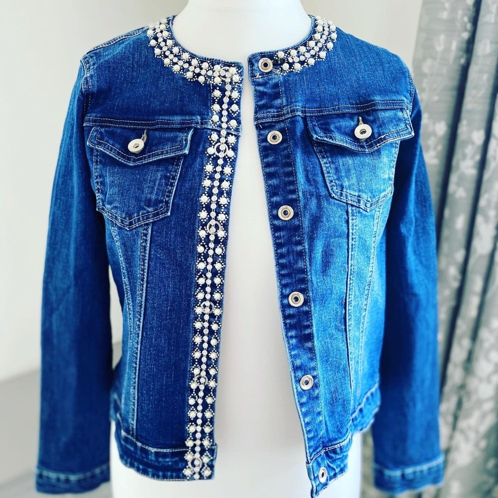 Denim Jacket with Crystals