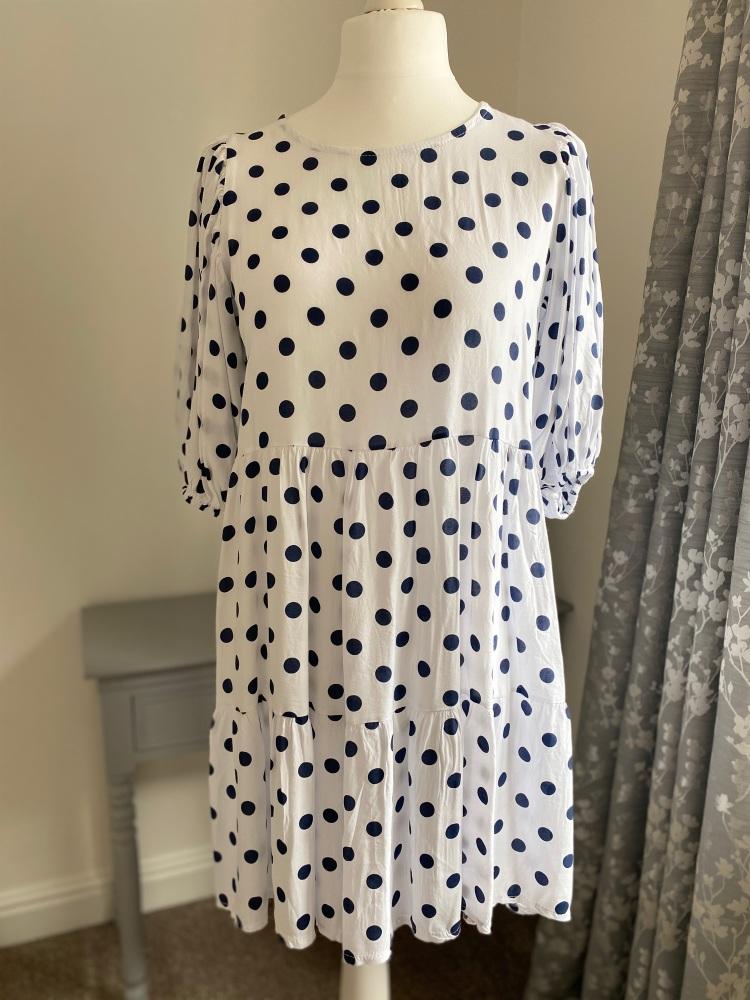 Polka Dot Puff Sleeve Tiered Dress