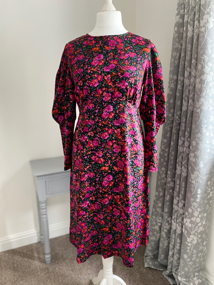 Midi Floral Statement Sleeve Dress