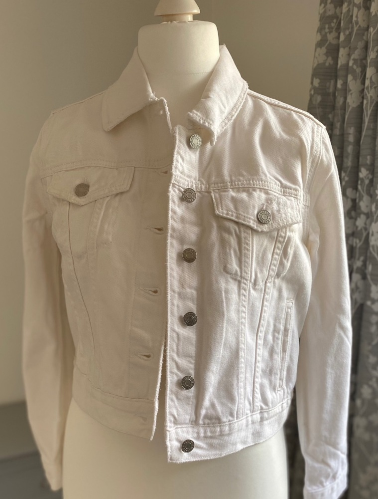 White Cropped Distressed Denim Jacket