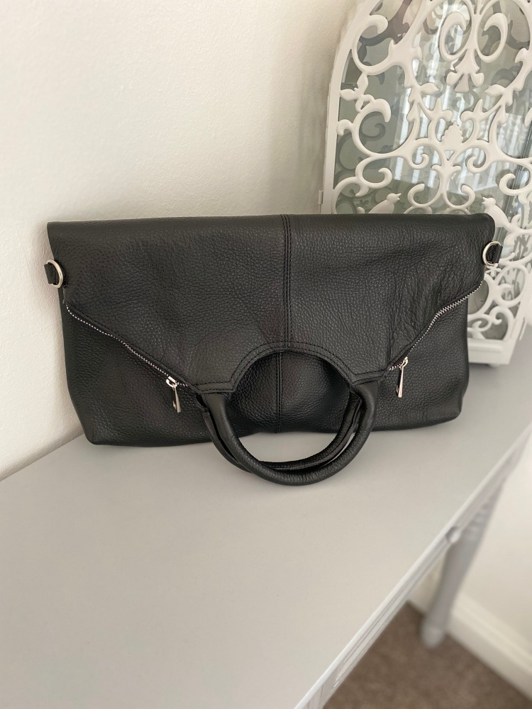 Black Leather Tote / Large Crossbody Bag