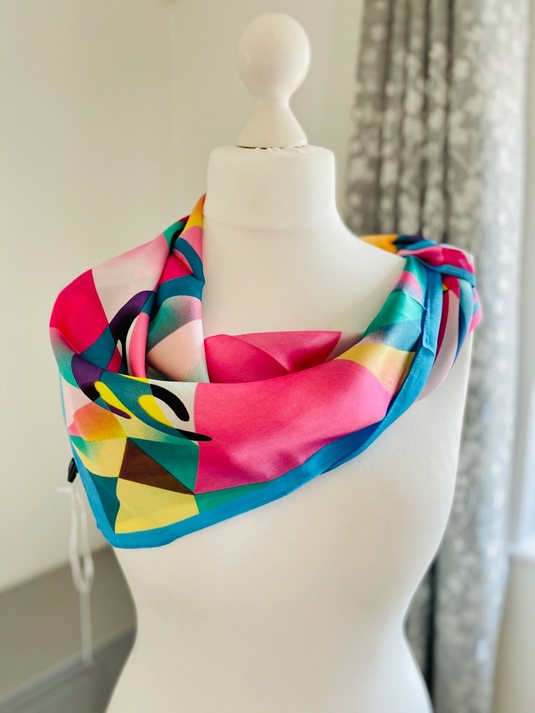 Abstract bold print square silk feel scarf