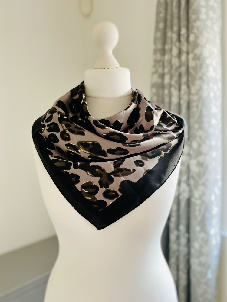 Abstract Animal Print Silk Feel Scarf
