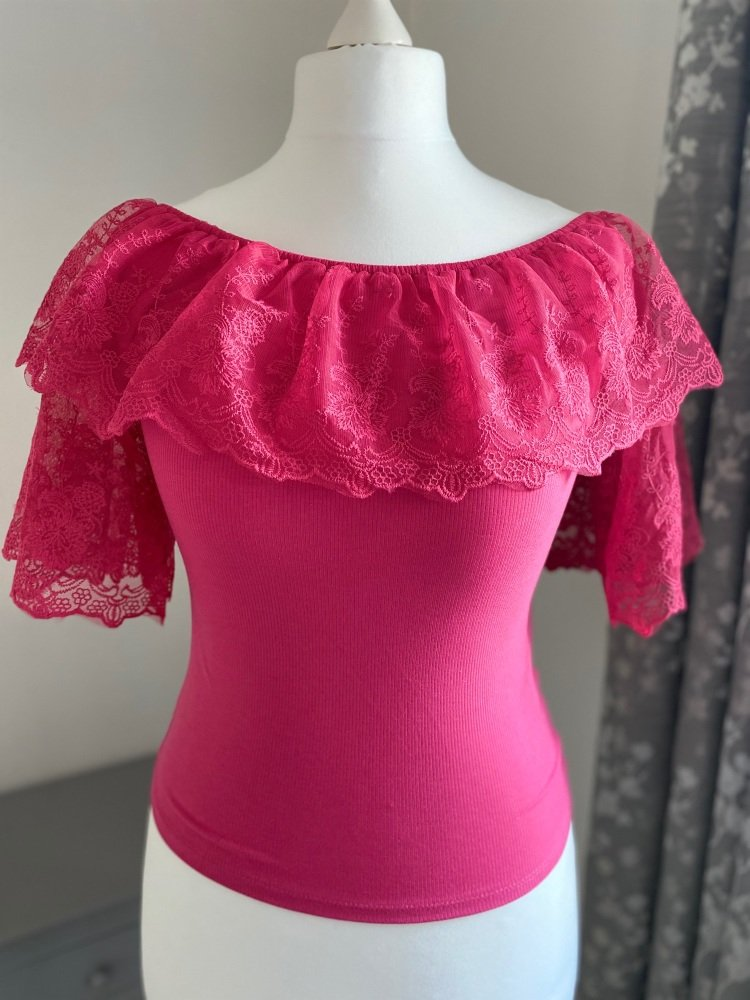 Vintage Style Lace Sleeve Bardot Top