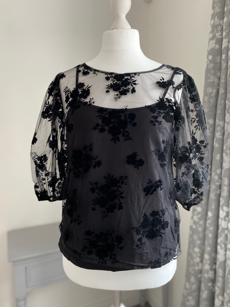 Floral 3/4 Sleeve Mesh Top with Cami