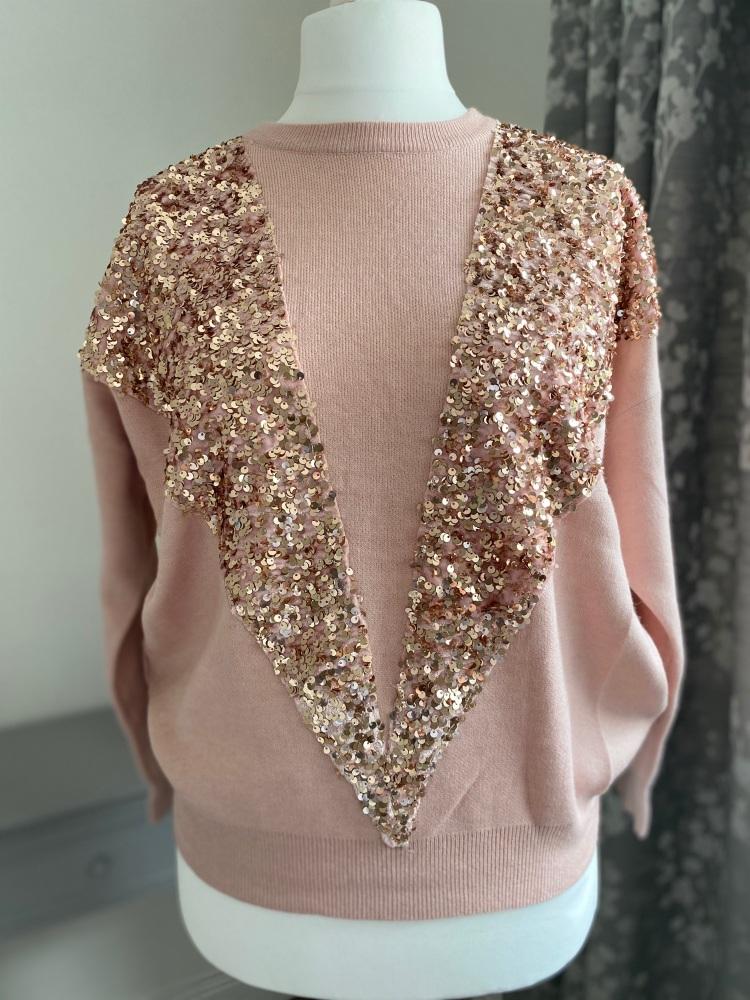 V Sequin Front Knitted Jumper