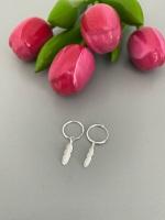 Sterling Silver Feather Hoop Earrings