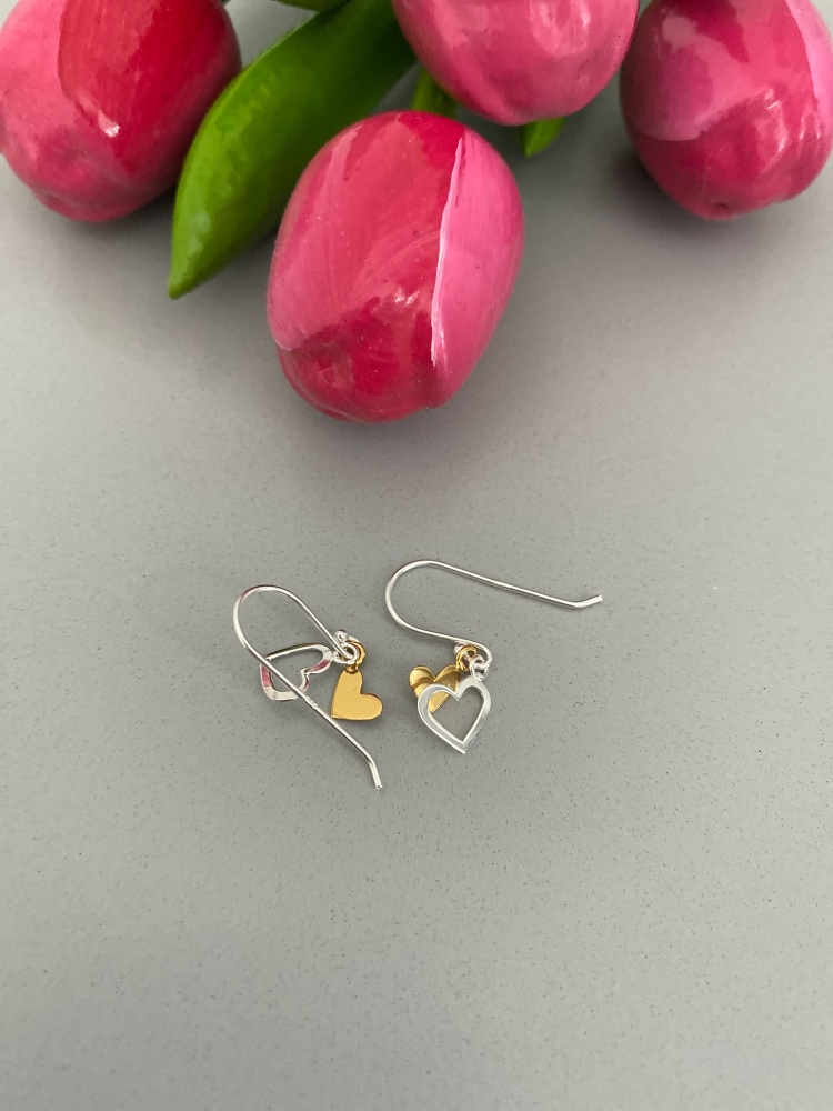 Double Heart Sterling Silver Drop Earrings
