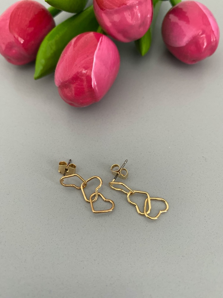 Triple Linked Heart Drop Earrings - Gold