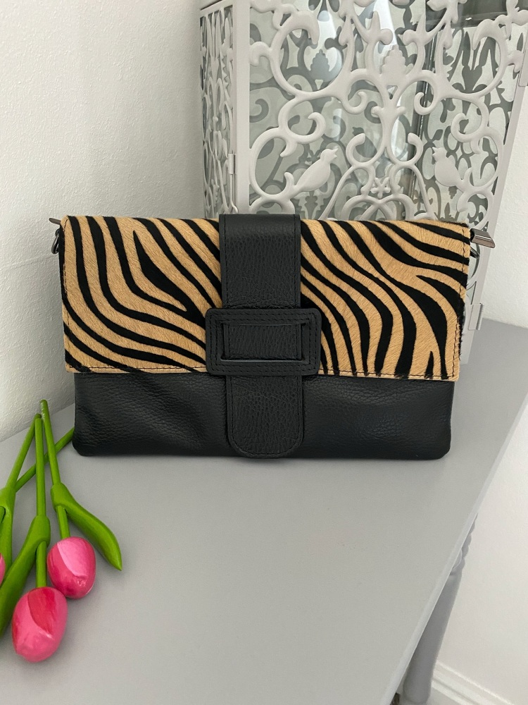 Tiger Print High Quality Leather Clutch Bag