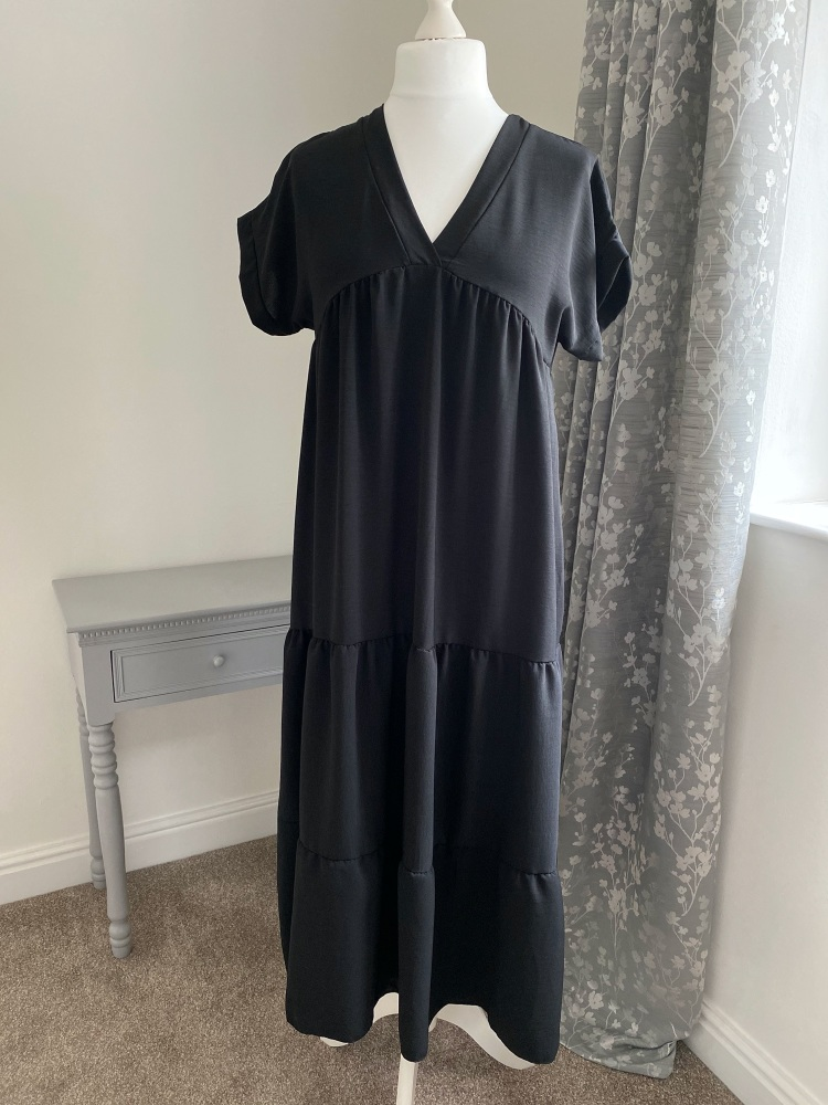 Black V Neck tiered smock dress
