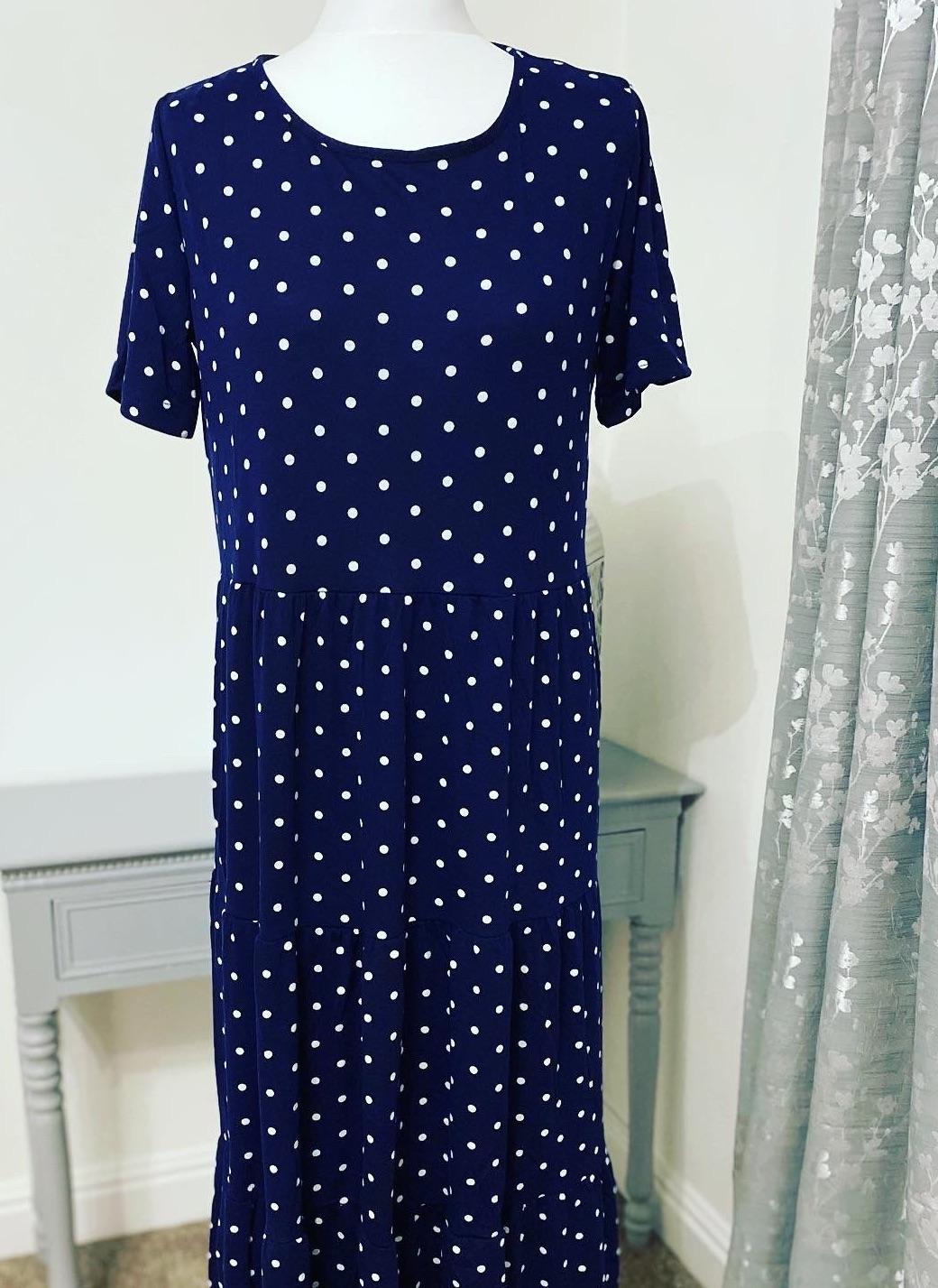 Navy Blue Polka Dot Tiered Smock Midi Dress