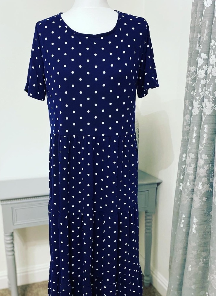 Navy Blue Polka Dot Tiered Smock Midi Dress
