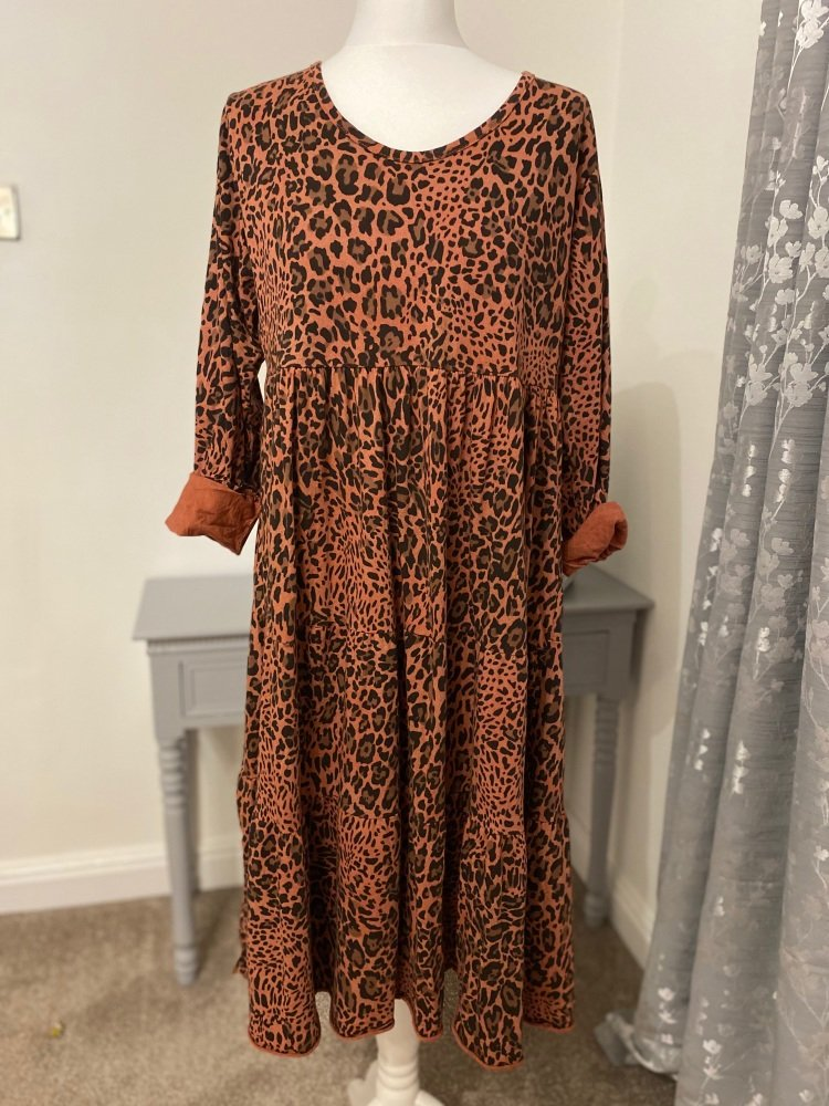 Animal Print Soft Jersey Midi Smock Dress
