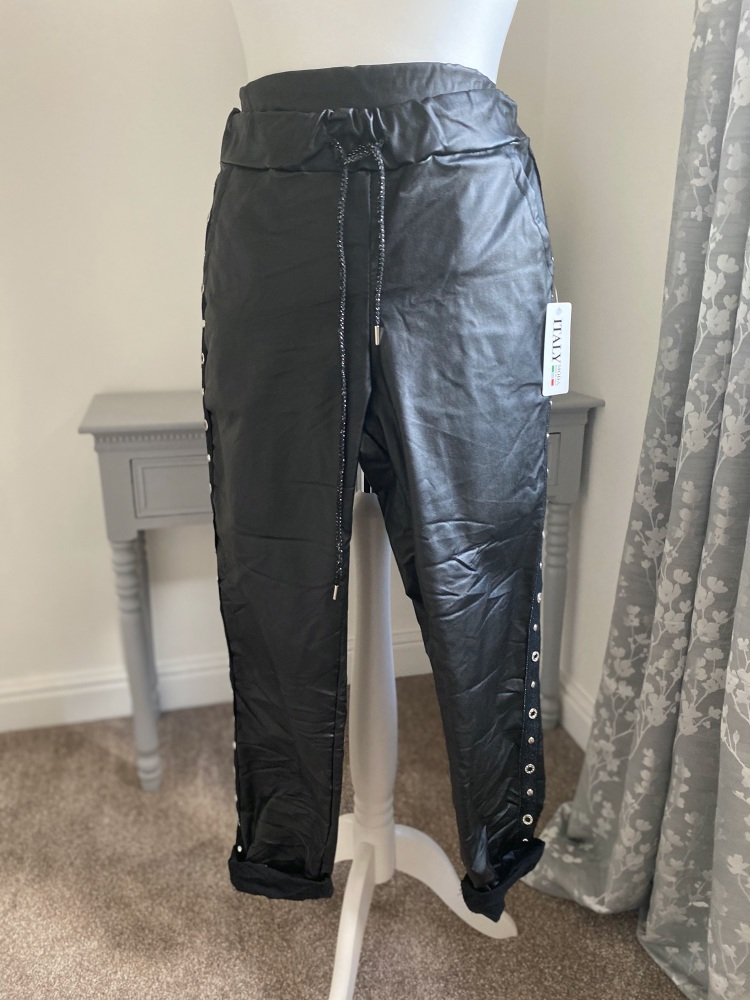 """Black Faux Leather """"Magic"""" Trousers with Stud Side Panels"""