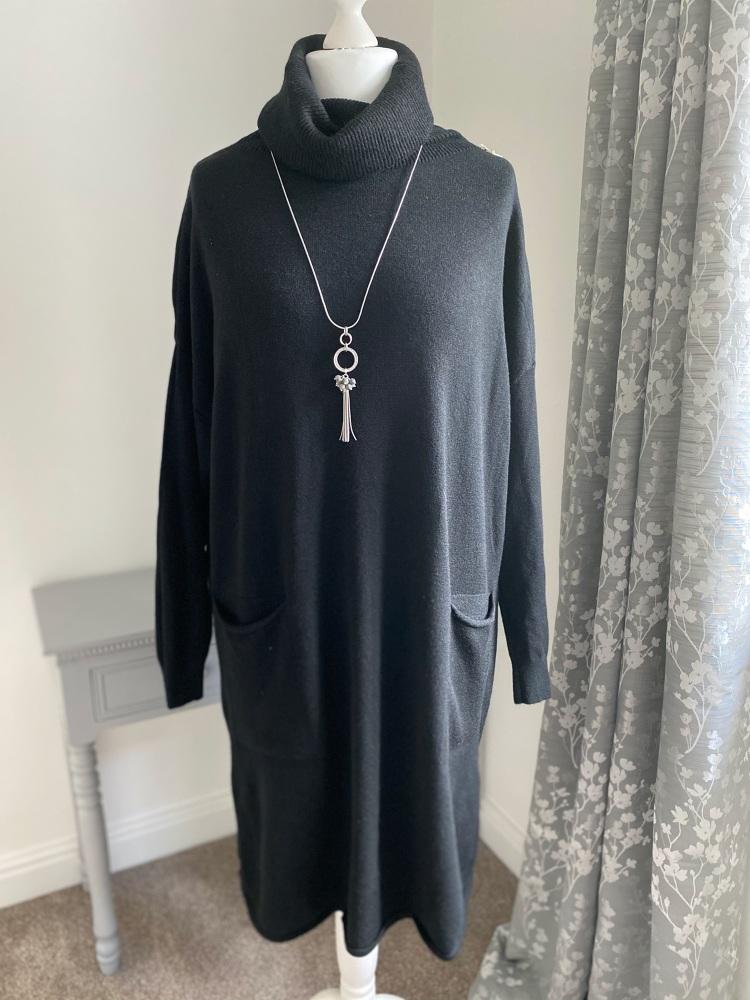 Black Roll Neck Jumper Dress with Front Pockets