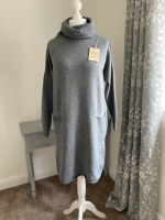 Grey Roll Neck Jumper Dress with Front Pockets