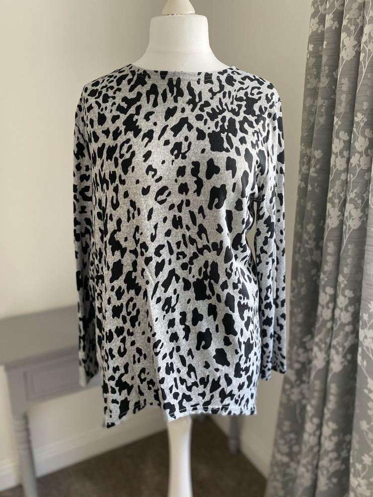 Grey & Black Leopard Print Soft Jersey Jumper