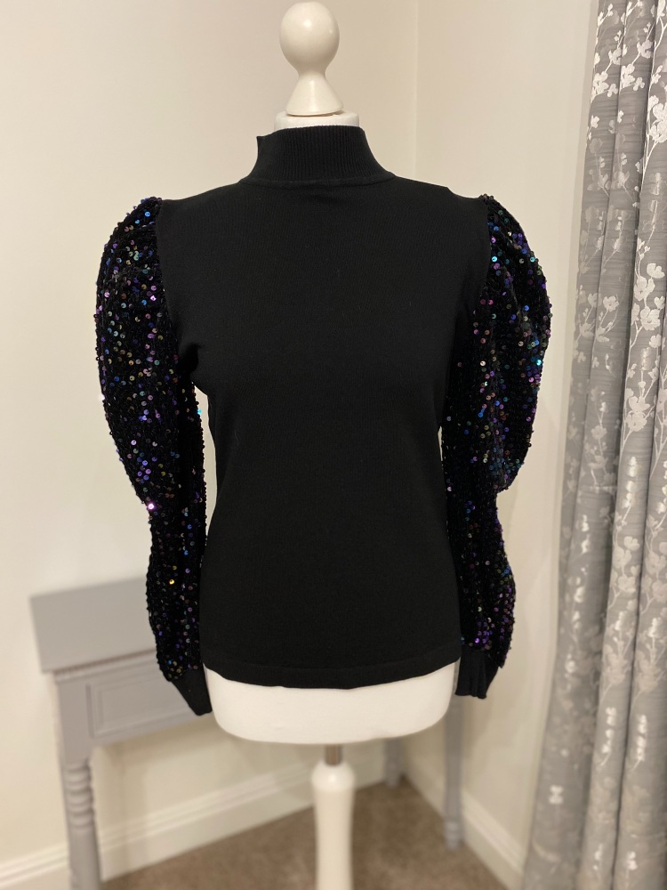 Black Sequin Sleeve Knitted Jumper