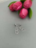 Triple Linked Heart Drop Earrings - Silver