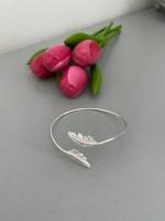 Silver Feather Bangle Bracelet
