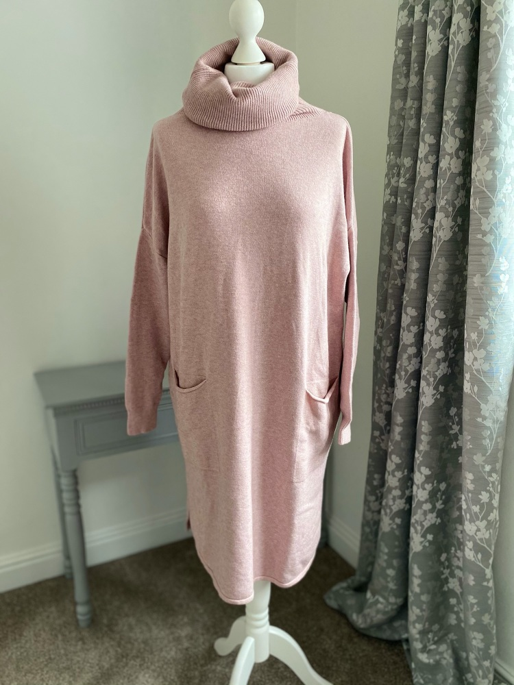 Pink Roll Neck Jumper Dress with Front Pockets