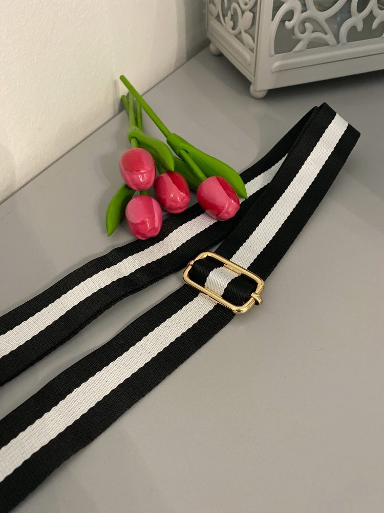 Monochrome Stripes Detachable Bag Strap
