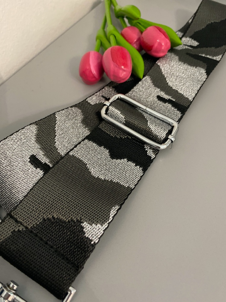 Grey & Silver Sparkle Camo Detachable Bag Strap