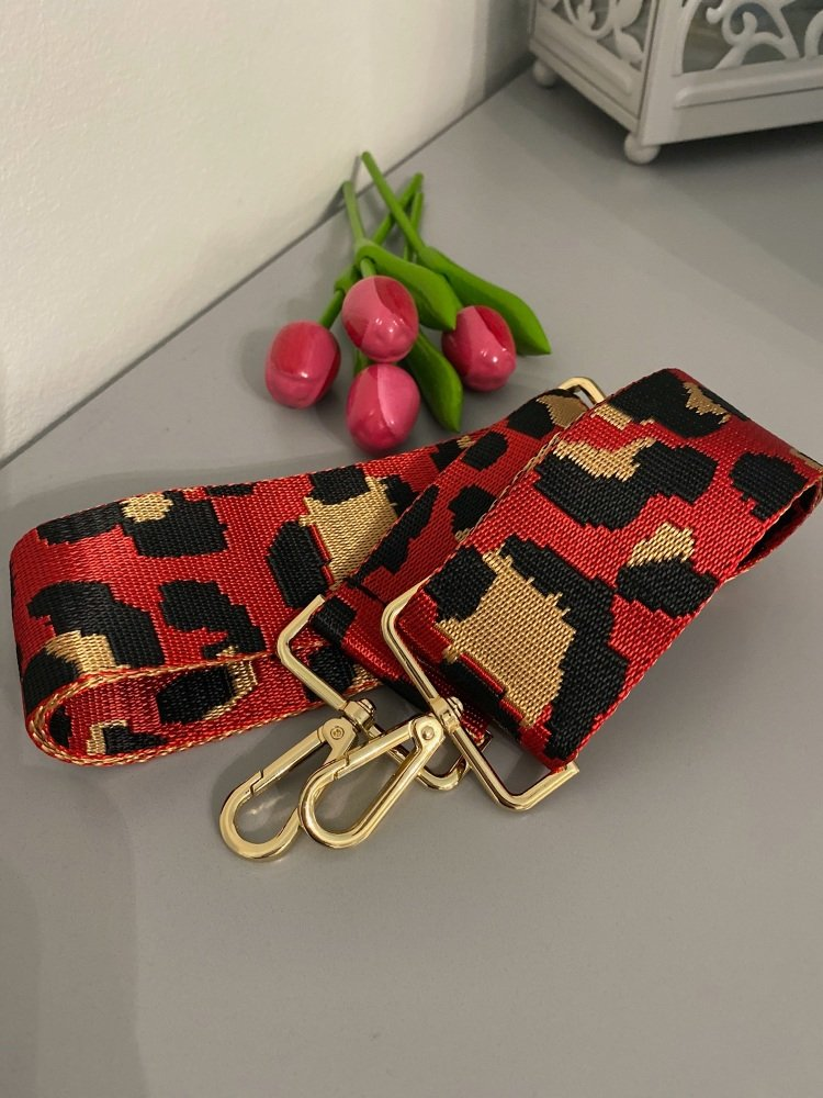 Red & Gold Animal Print Detachable Bag Strap