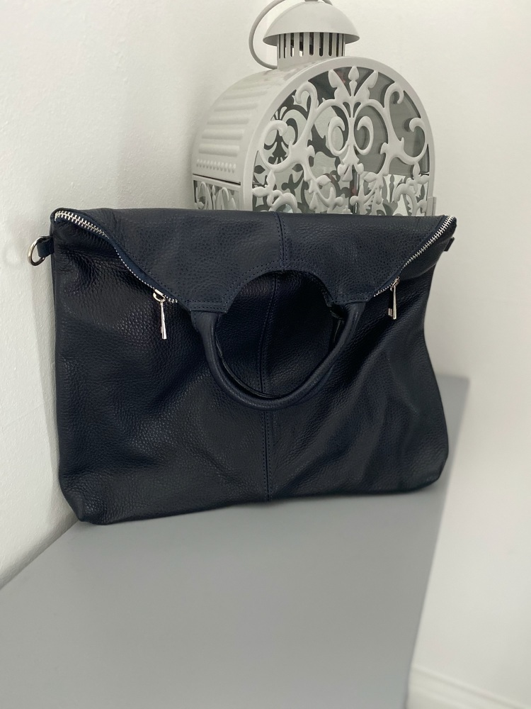 Large NAVY Leather Tote / Large Crossbody Bag