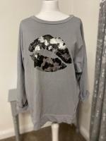 Grey Metallic Lips Foil Print Sweatshirt