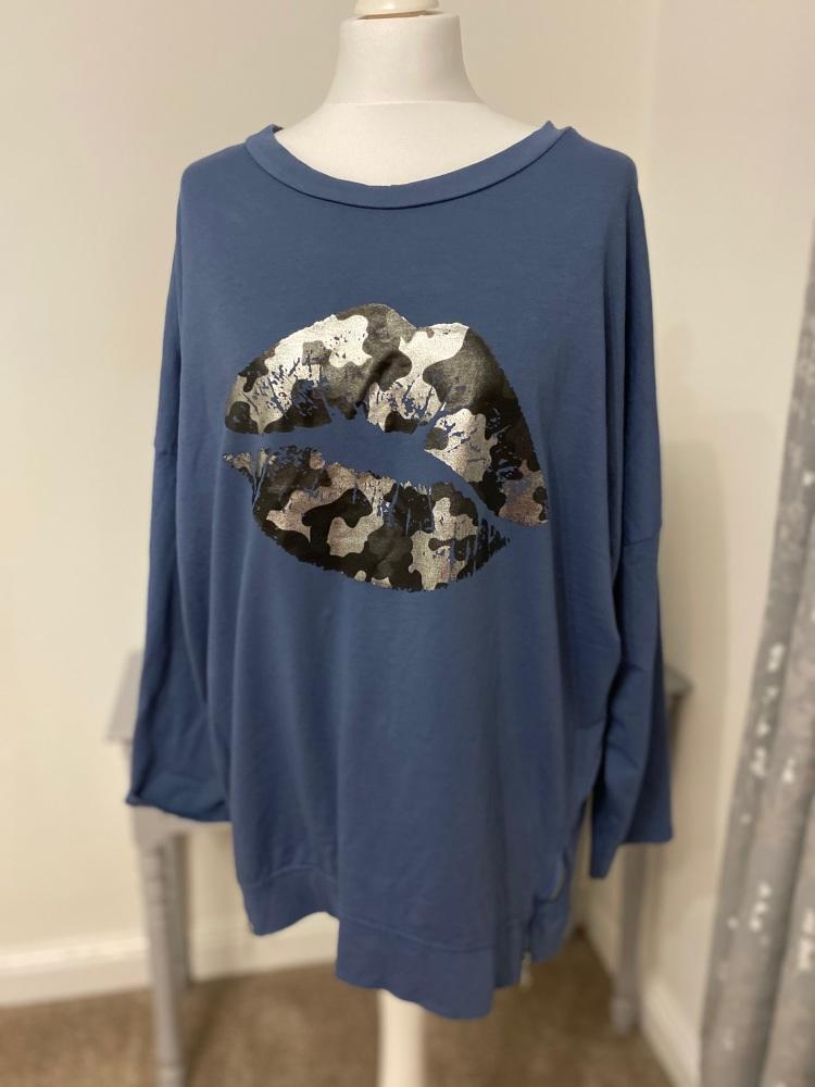 Blue Metallic Lips Foil Print Sweatshirt