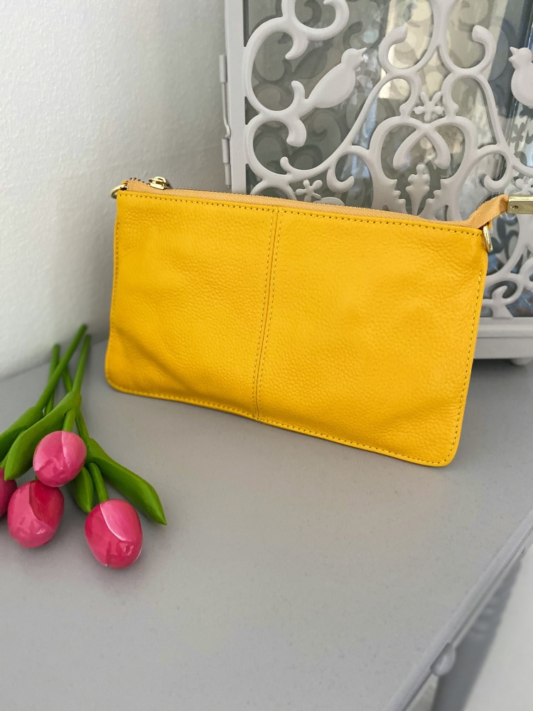 Small Genuine Leather Yellow Crossbody Bag