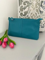 Small Genuine Leather Turquoise / Teal Crossbody Bag