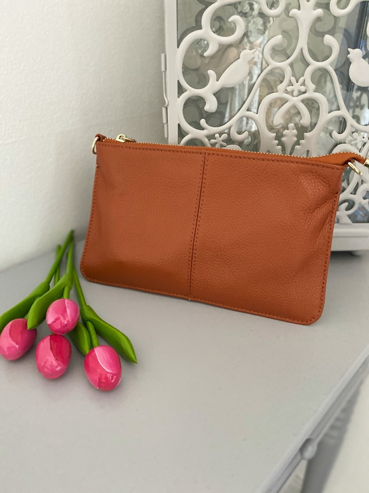 Small Genuine Leather Tan Crossbody Bag