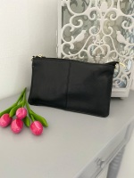 Small Genuine Leather Black Crossbody Bag