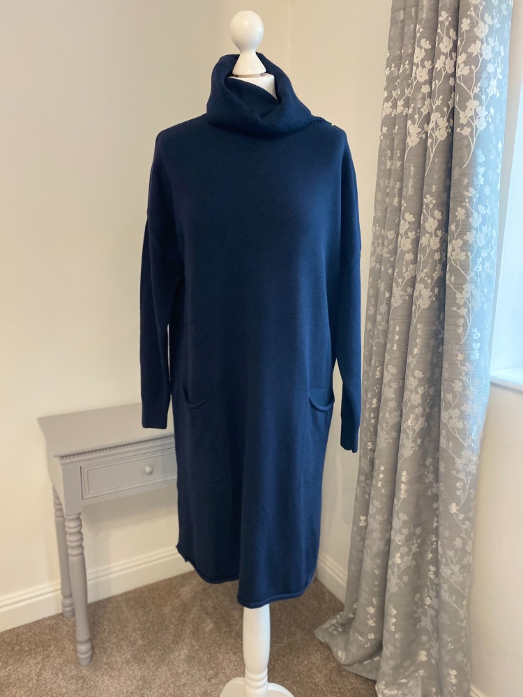 Navy Roll Neck Jumper Dress with Front Pockets