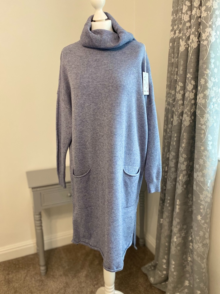 Pale Blue Roll Neck Jumper Dress with Front Pockets