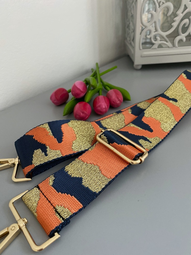 Orange & Navy Sparkle Camo Detachable Bag Strap
