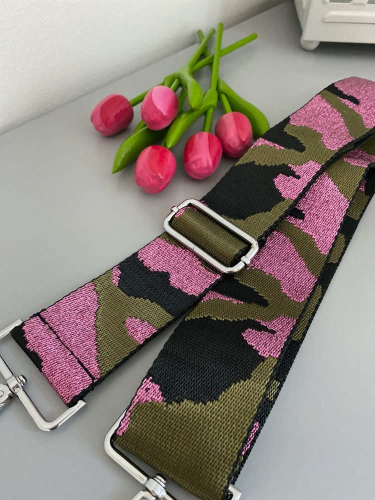 Pink & Khaki Sparkle Camo Detachable Bag Strap
