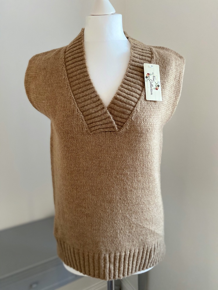 Tan V Neck Tank Top