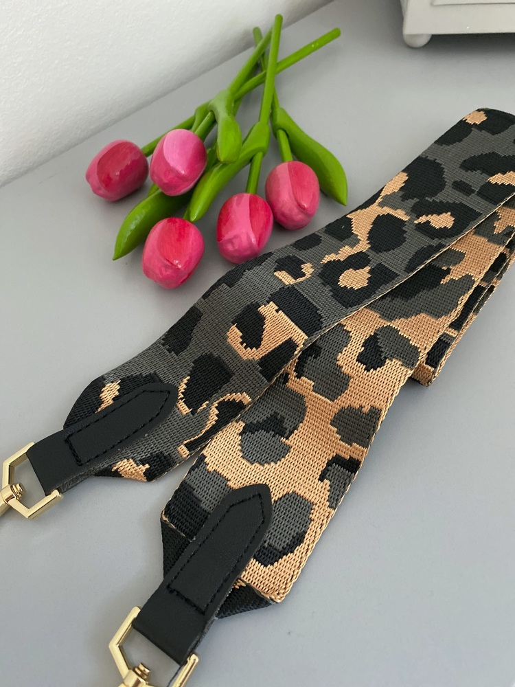 Grey & Gold Animal Print Detachable Bag Strap