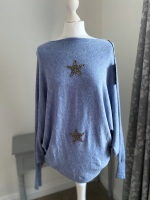 Denim Blue Super Soft Batwing Star Jumper